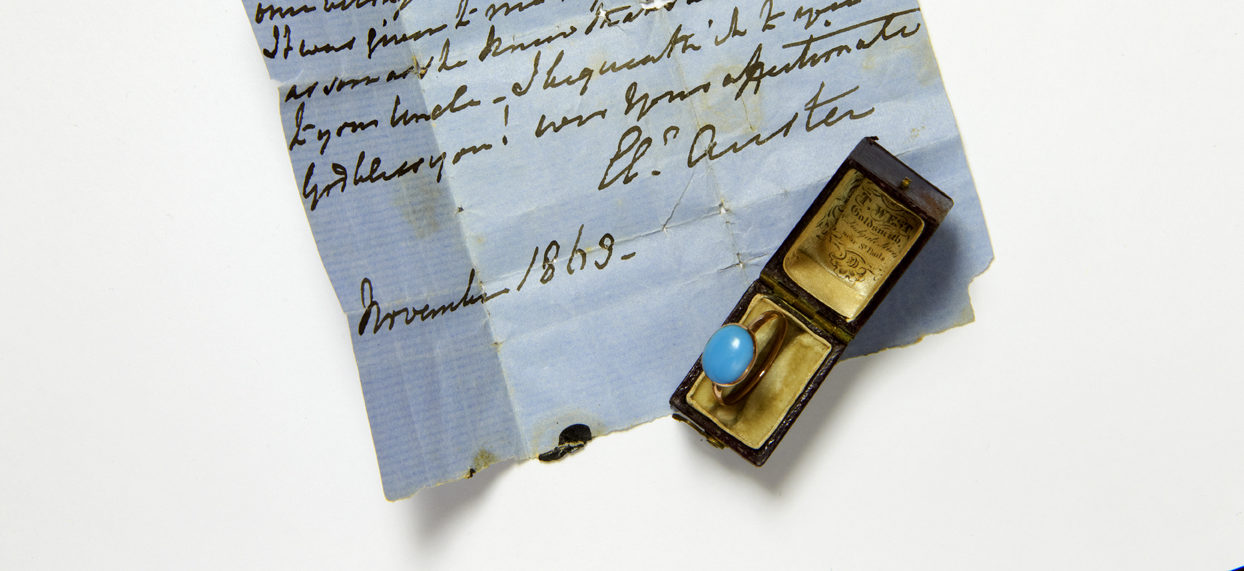 Jane Austen's turquoise ring in a box, showing provenance note
