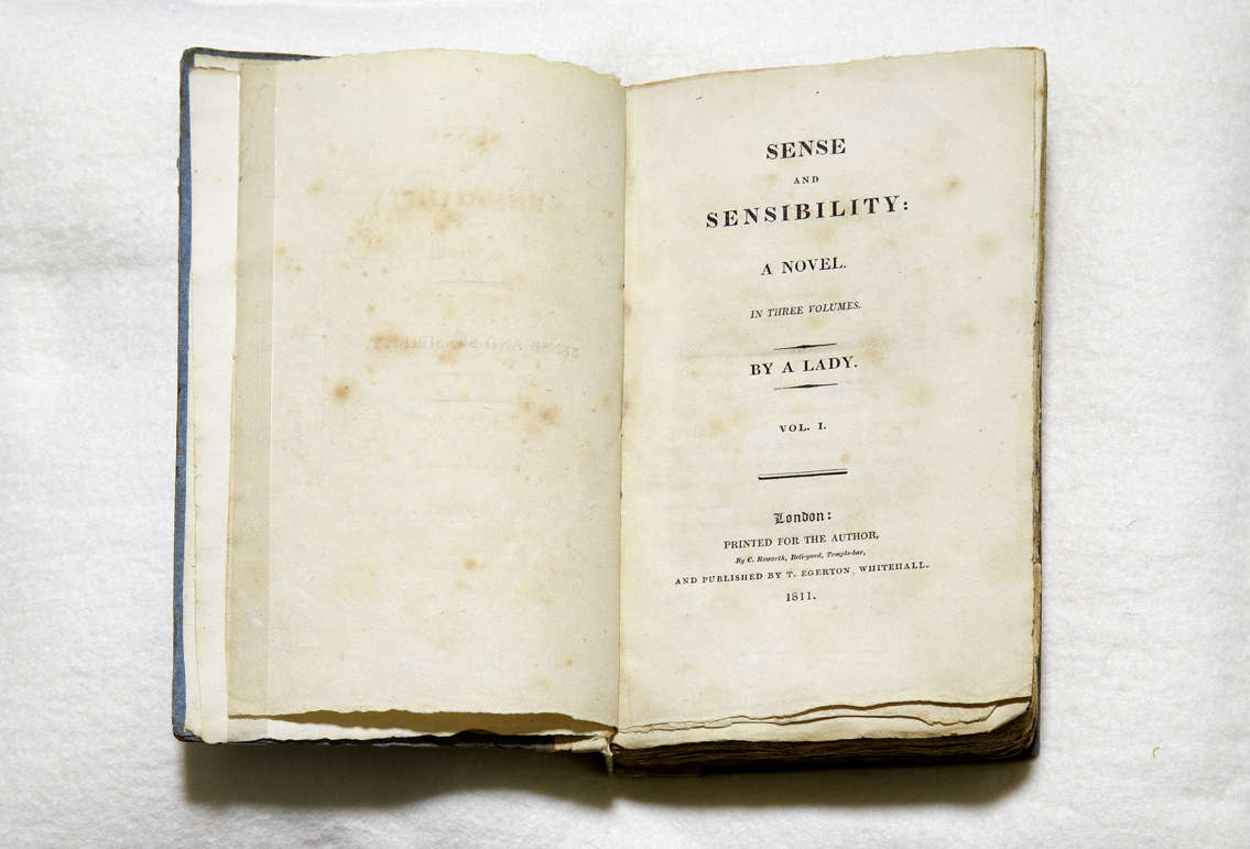 First edition of Sense and Sensibility, open on title page