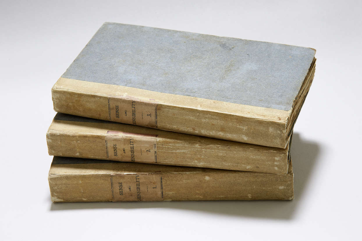 First edition of Sense and Sensibility in three volumes, with blue boards