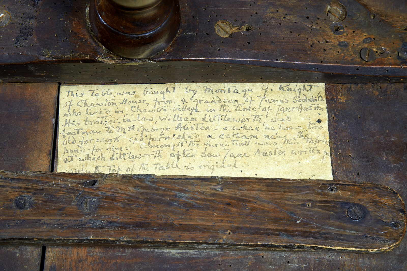 Note on the bottom of Jane Austen's writing table