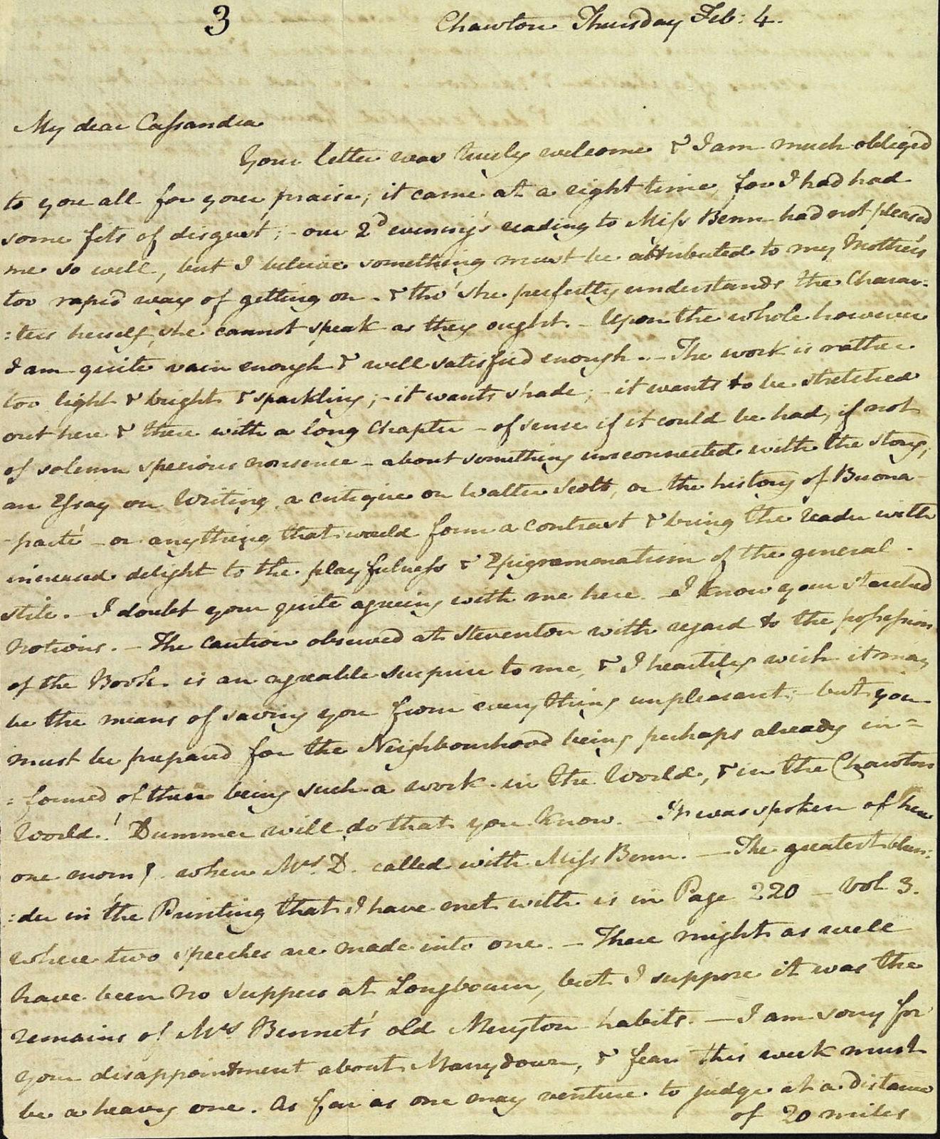 Letter from Jane Austen to Cassandra Austen, 4 February 1813. Page 1