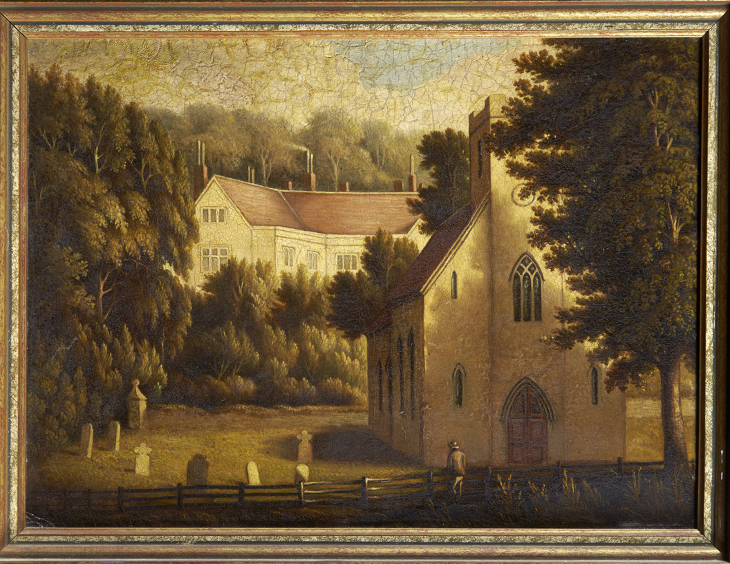 Painting of Chawton House and Church