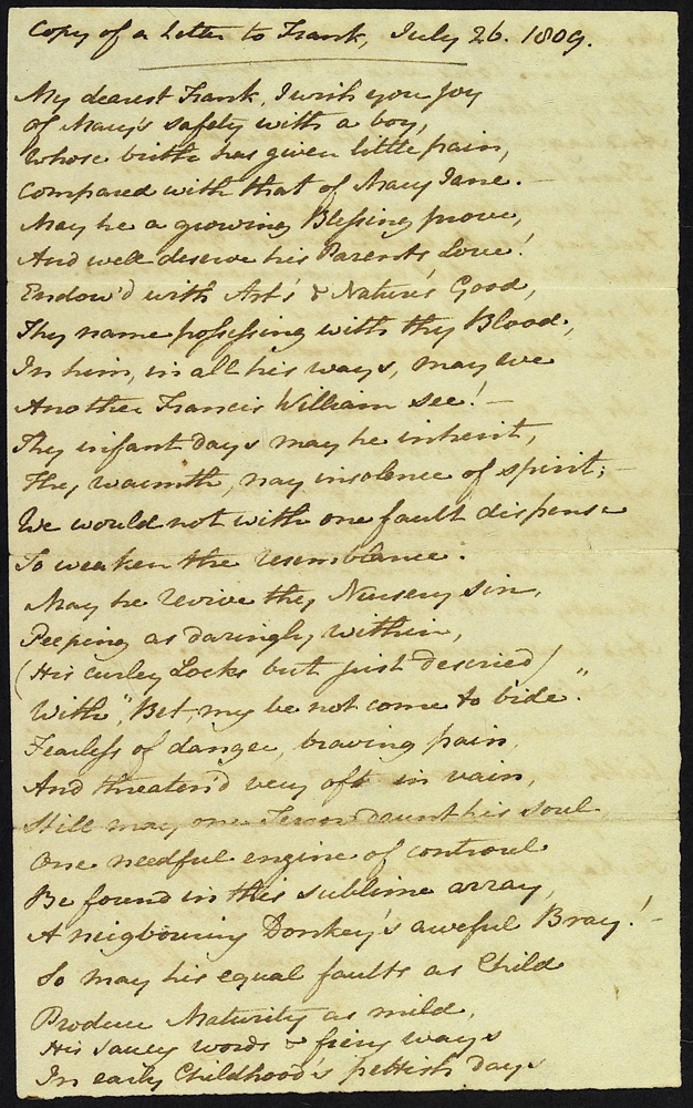 Jane Austen's copy of a letter to Francis Austen, 26 July 1809. Page 1