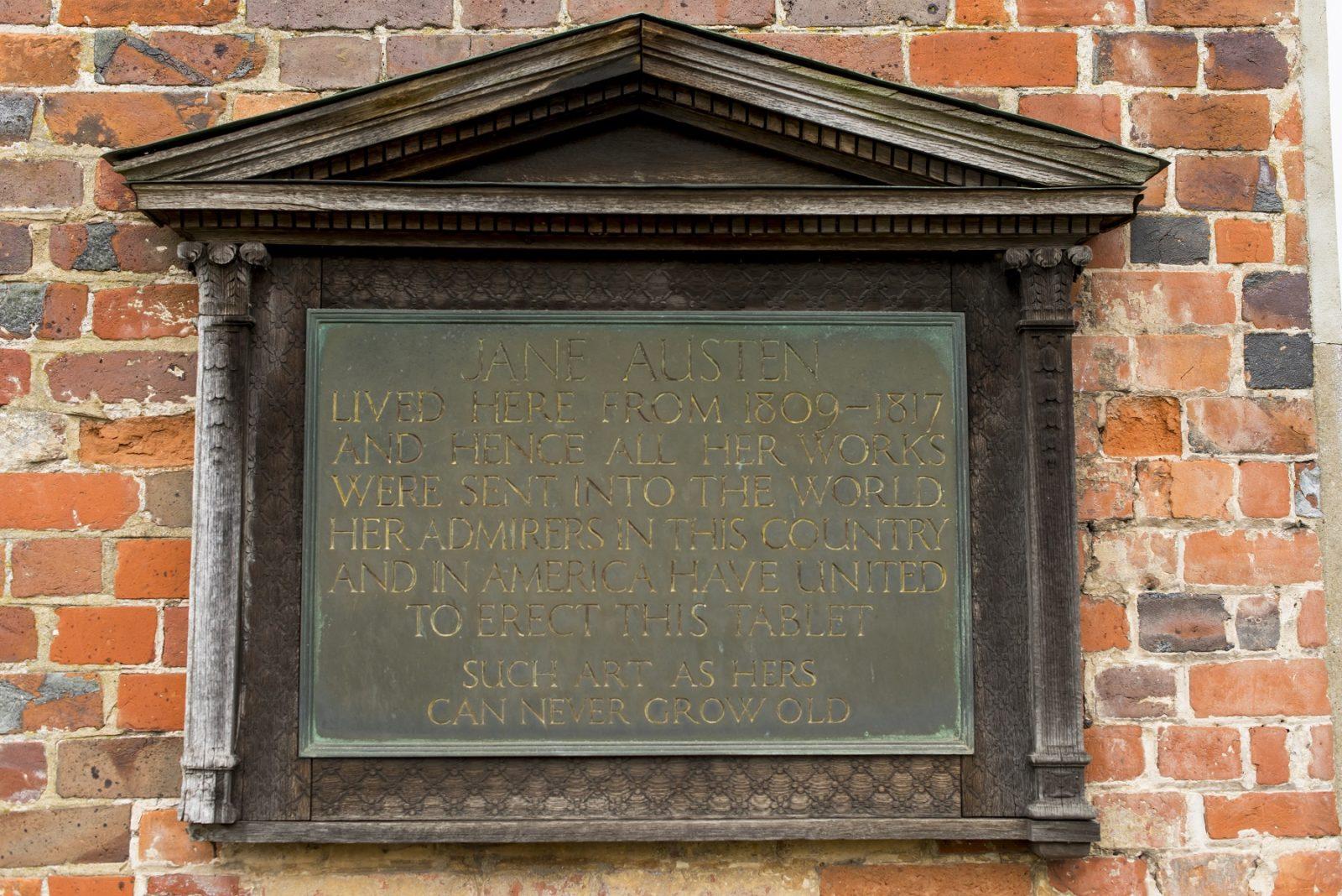 1917 plaque at Jane Austen's House