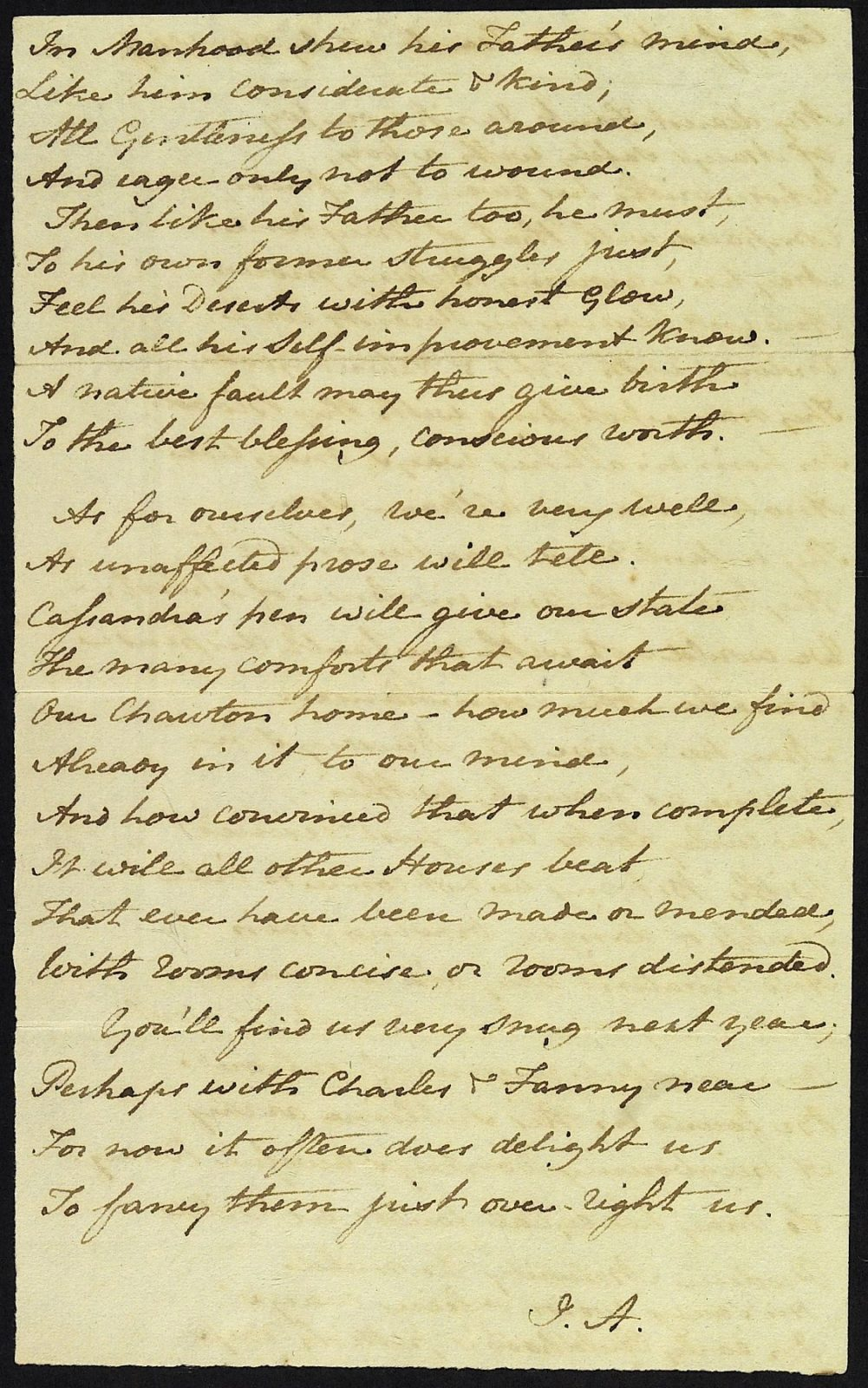 Jane Austen's copy of a letter to Francis Austen, 26 July 1809. Page 2