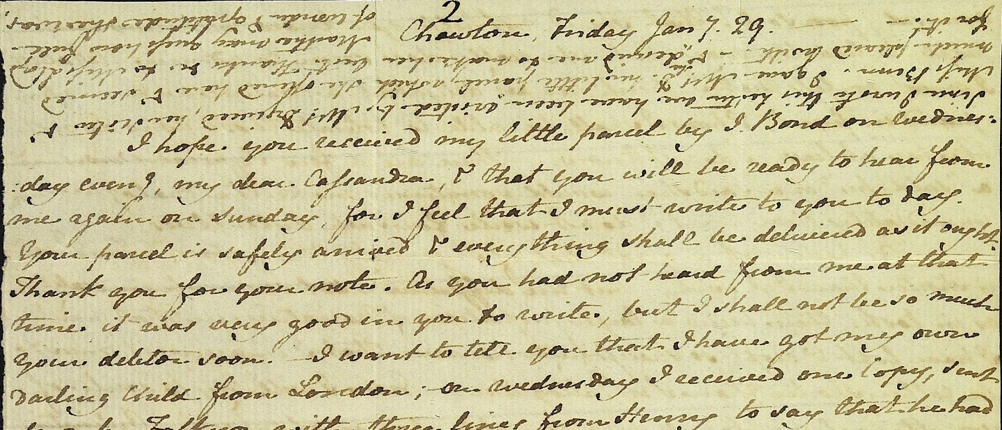 Close up of a letter from Jane Austen to Cassandra Austen, 29 January 1813