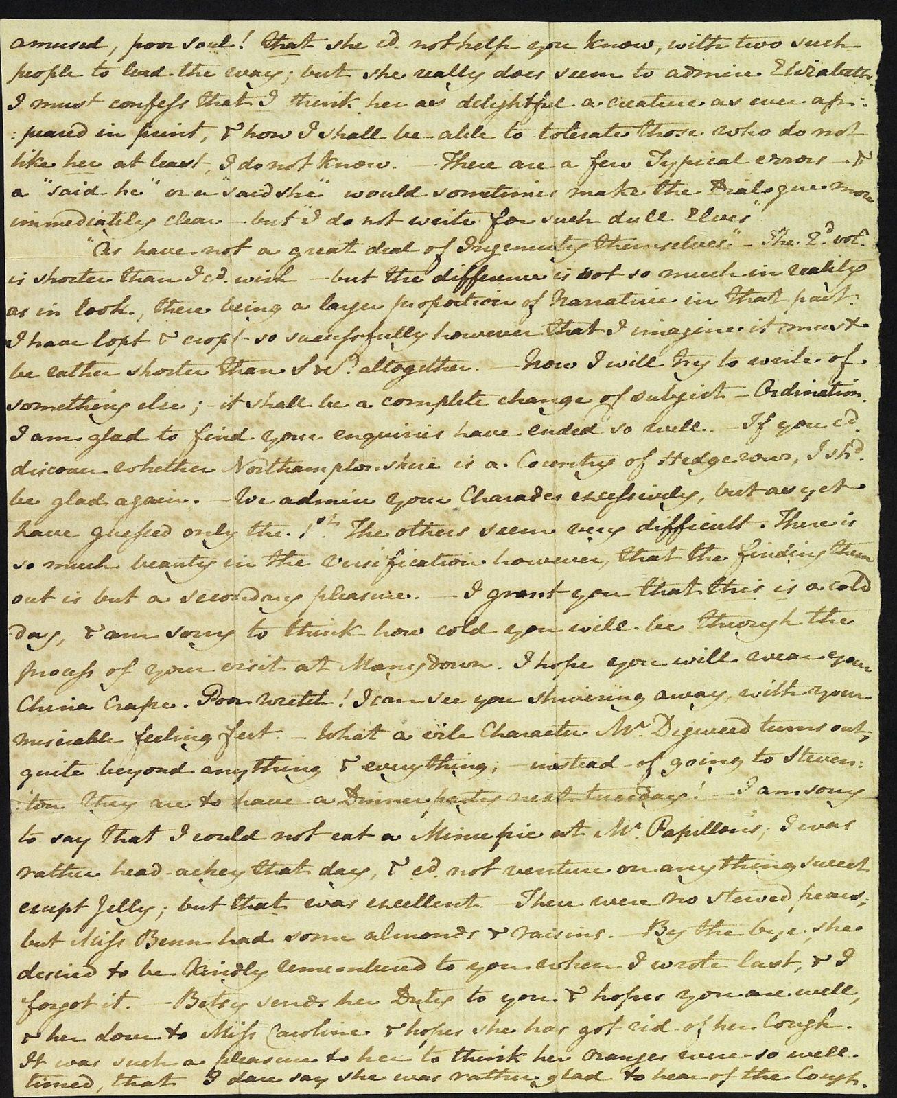 Letter from Jane Austen to Cassandra Austen, 29 January 1813. Page 2
