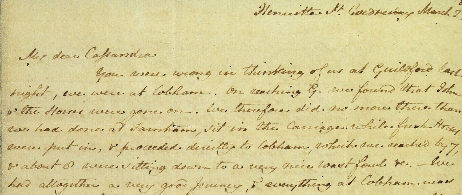 Close up of letter from Jane Austen to Cassandra Austen, 2 March 1814