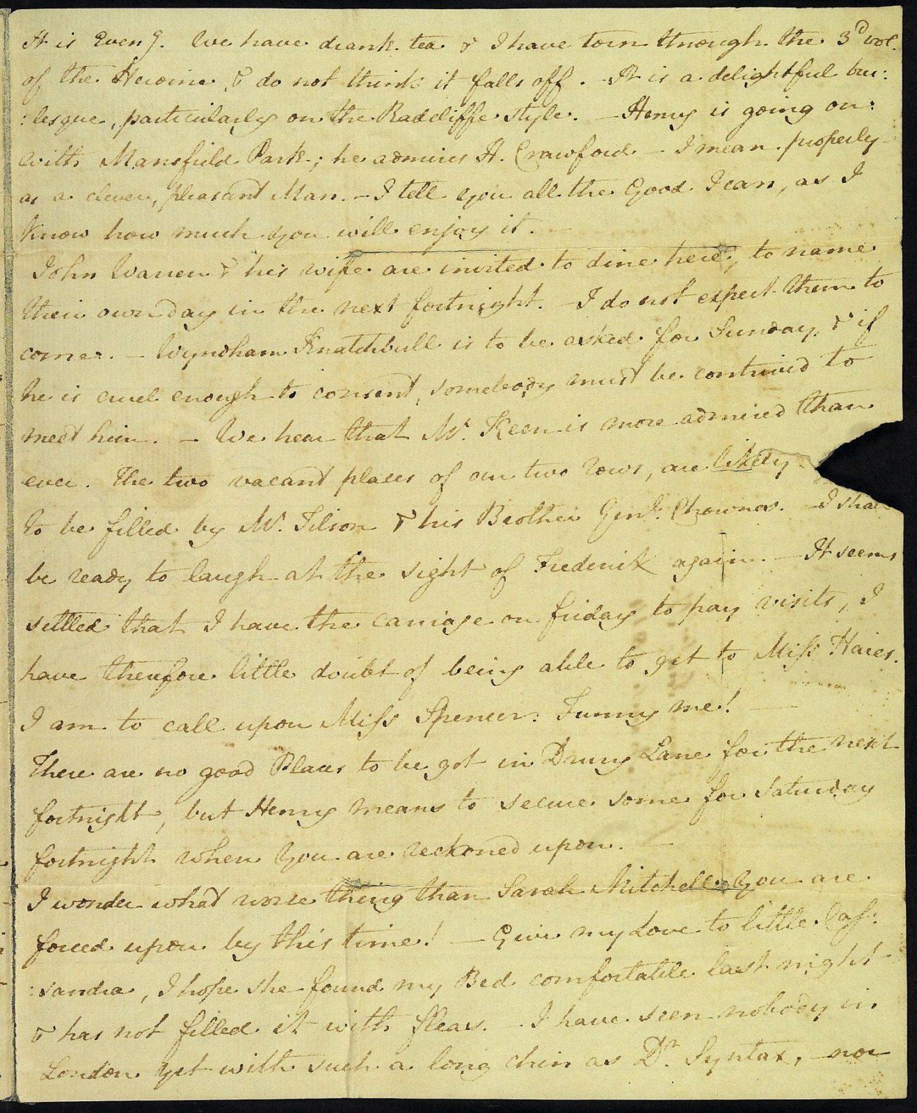 Letter from Jane Austen to Cassandra Austen, 2 March 1814. Page 3