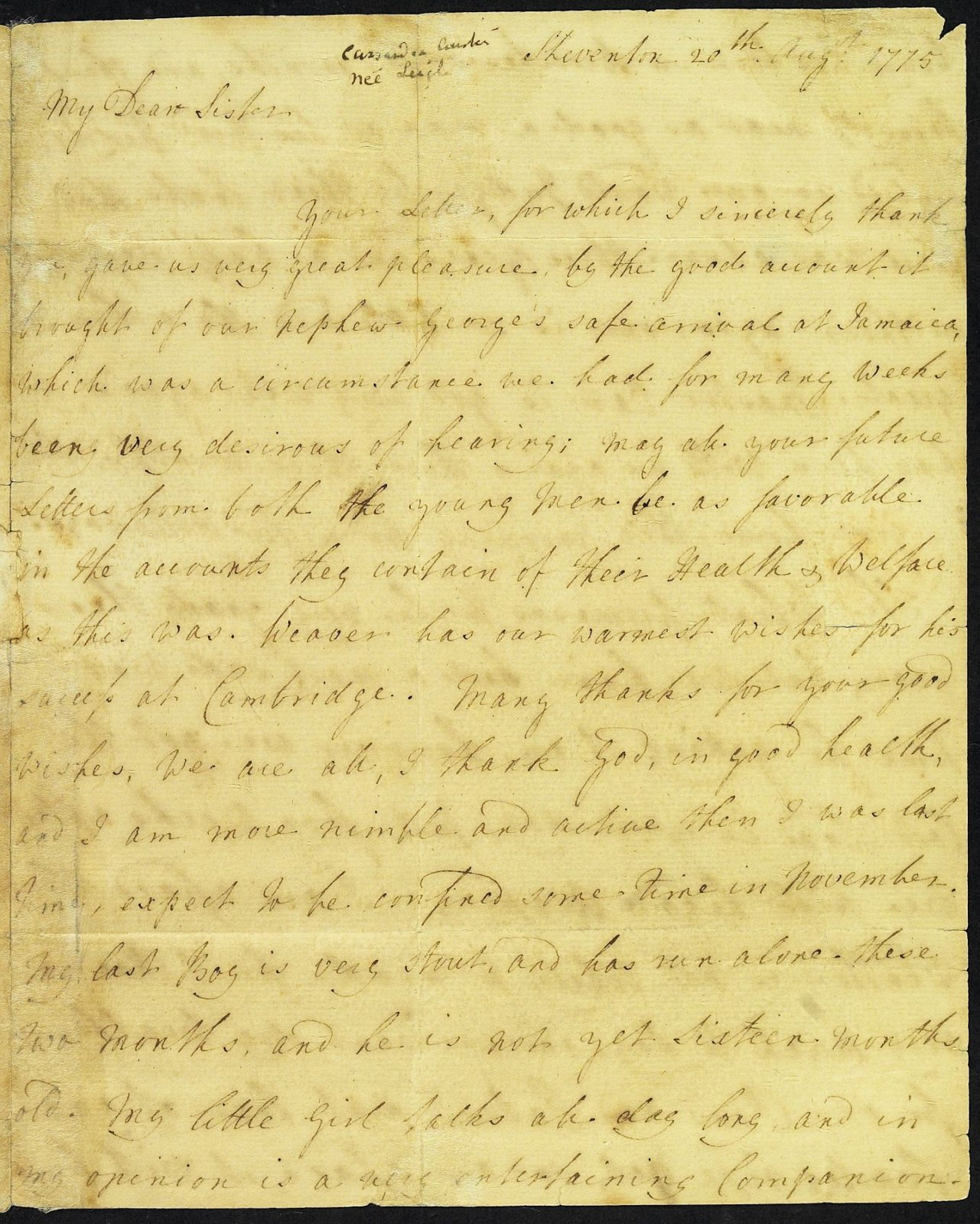 Letter from Mrs Austen to Mrs Walter, 20 August 1775, page 1