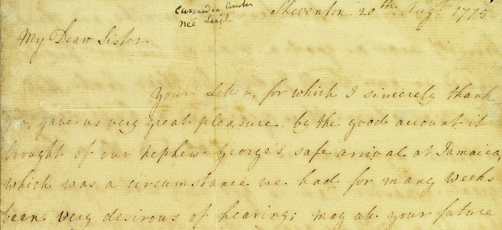 Close up of a letter from Mrs Austen to Mrs Walter, 20 August 1775