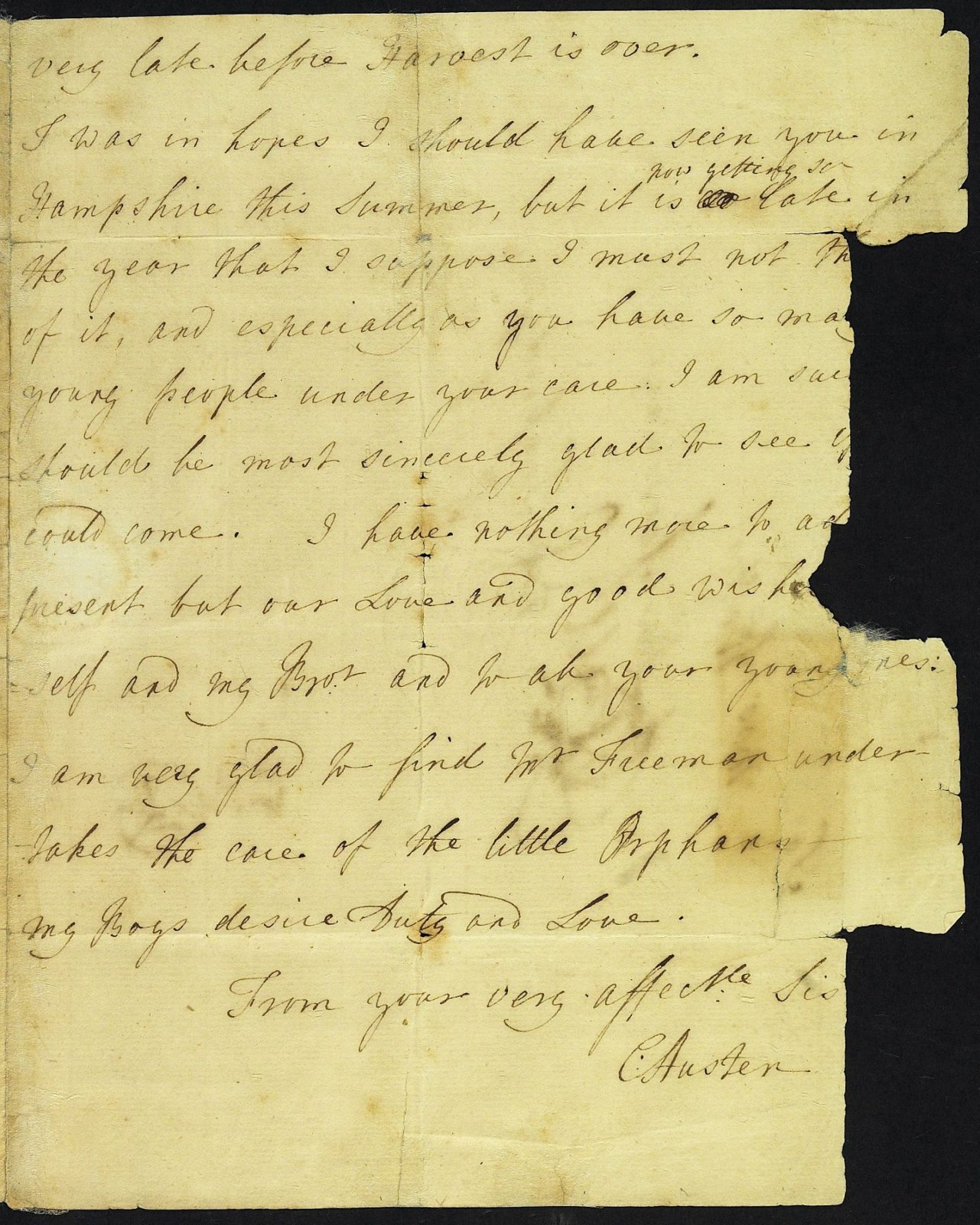 Letter from Mrs Austen to Mrs Walter, 20 August 1775, page 3
