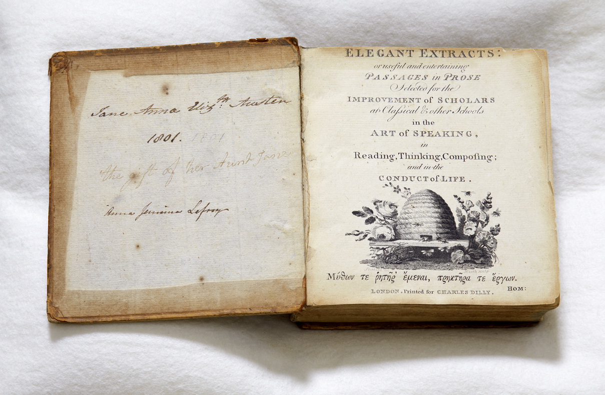 Elegant Extracts shown open on first page, with Jane Austen's name inscribed in the cover