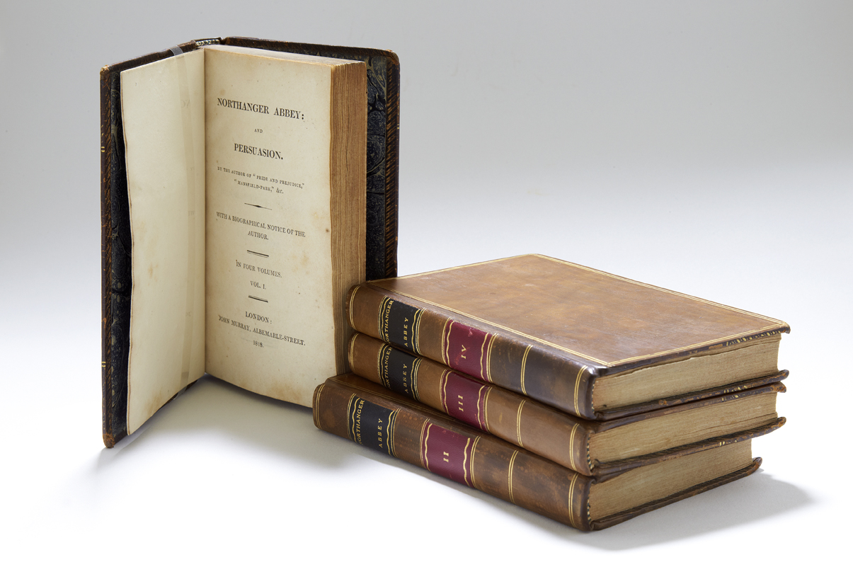 First edition of Northanger Abbey and Persuasion in four volumes, with gilt leather covers
