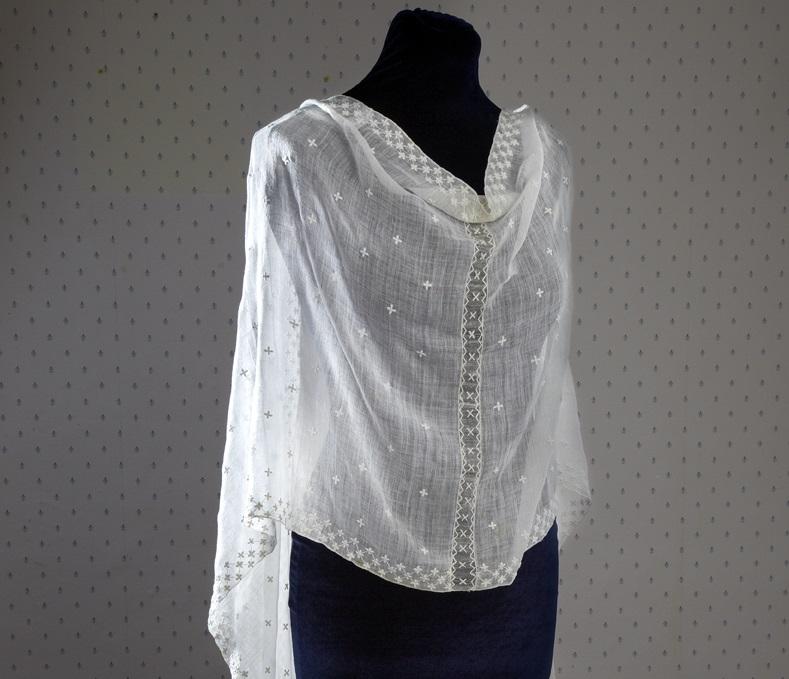Jane Austen's muslin shawl shown on a mannequin