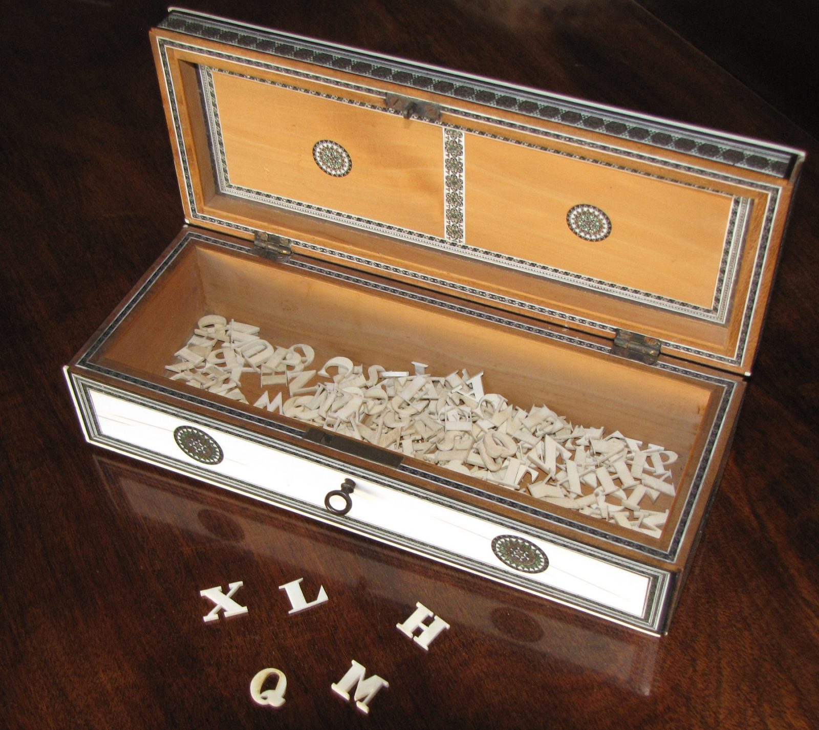 Alphabet letters in ivory box