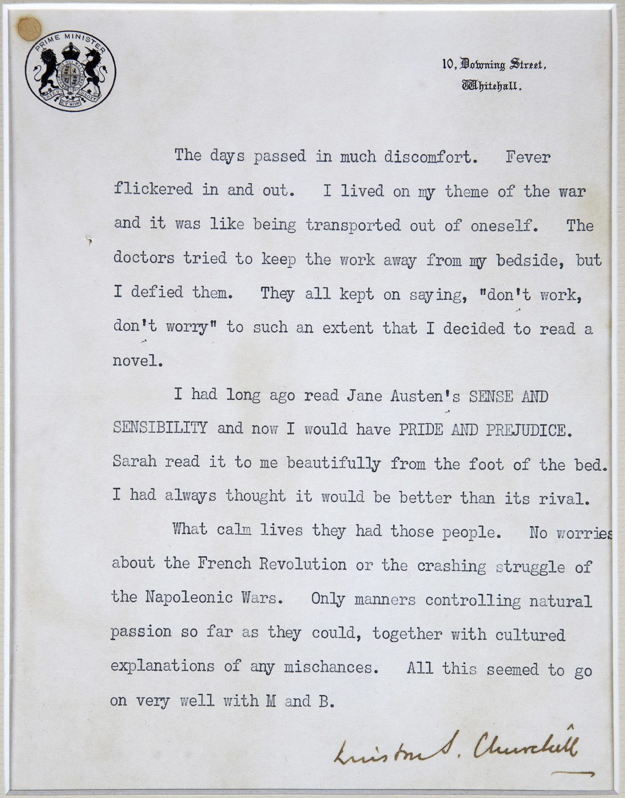 Winston Churchill memoir extract, typed and signed