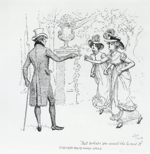 Illustration by Hugh Thomson: Mr Bennet with Lizzie and Jane