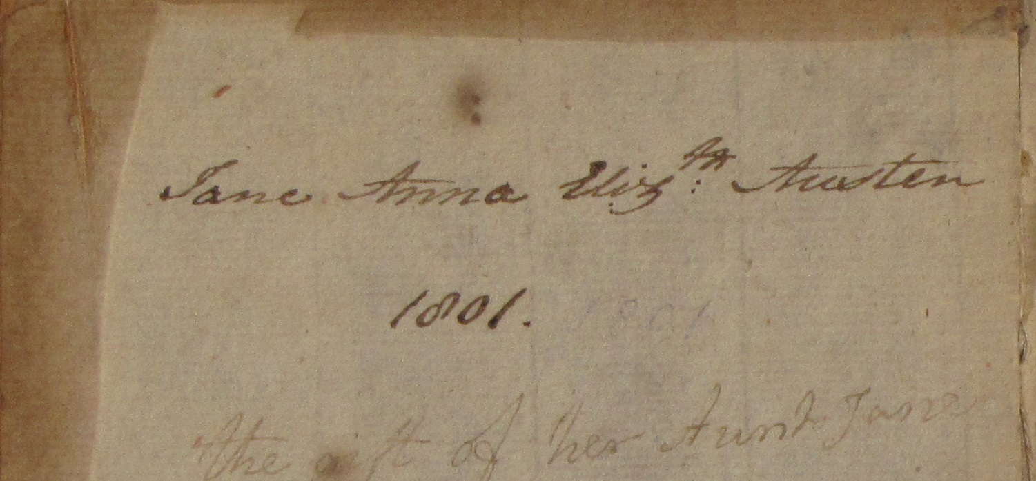 Close up of Jane Austen's name in front cover of Elegant Extracts