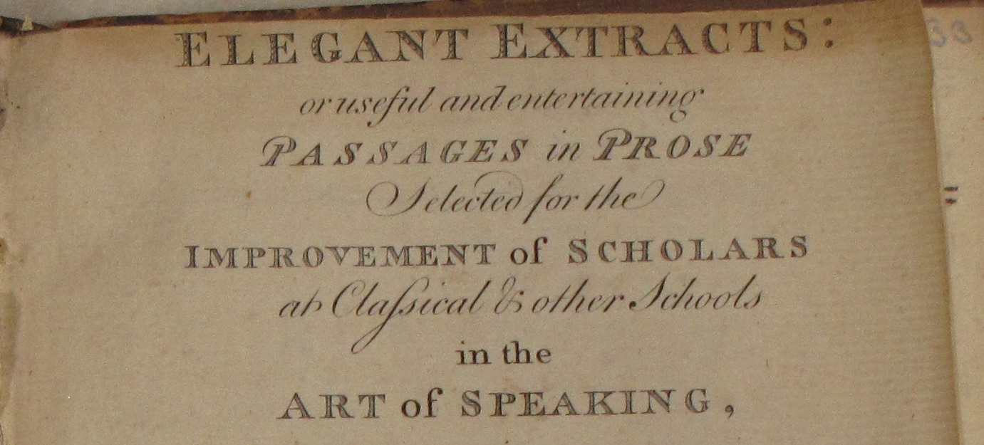 Close up of the first page of Elegant Extracts