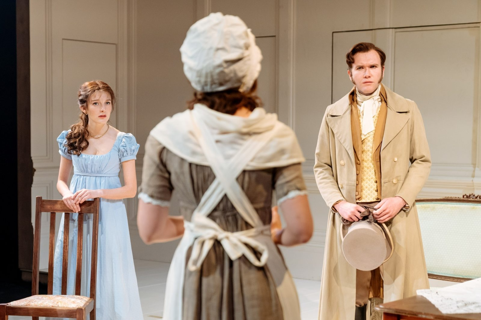 Grace Molony (Emma Watson), Louise Ford (Laura) and Joe Bannister (Lord Osborne) in THE WATSONS by Laura Wade at Chichester Festival Theatre. Photo: Manuel Harlan