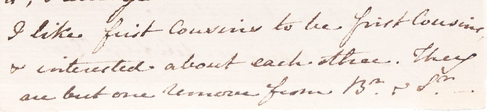 Extract from letter: 'I like first cousins to be first cousins'