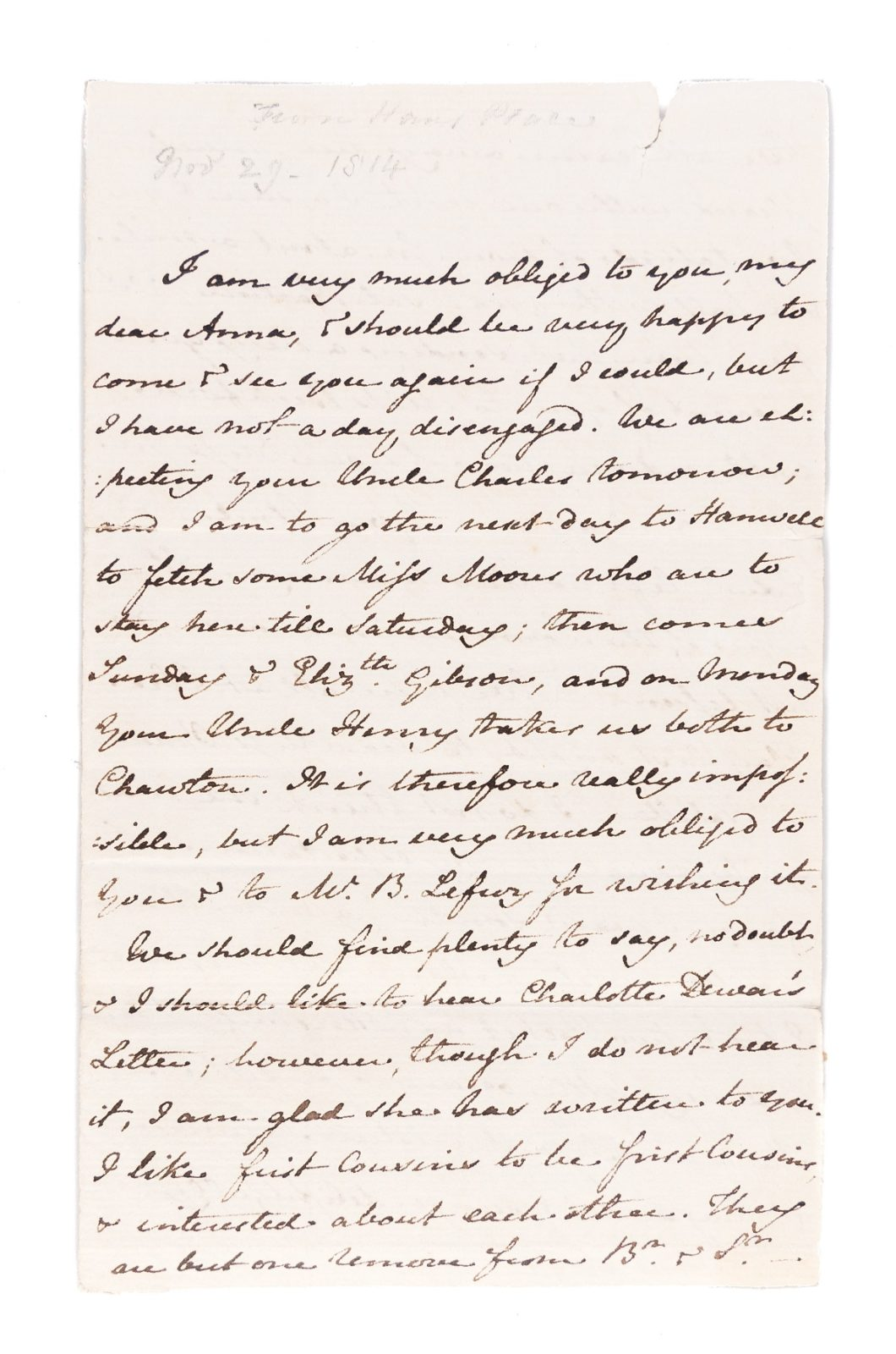 Letter from Jane Austen to Anna Lefroy, 29 November 1814. Page 1
