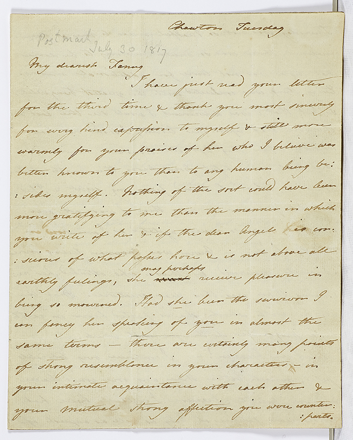 Letter from Cassandra Austen to Fanny Knight, 29 July 1817. Page 1