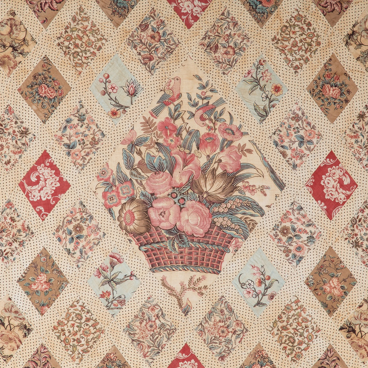Centre of the Austen family patchwork coverlet