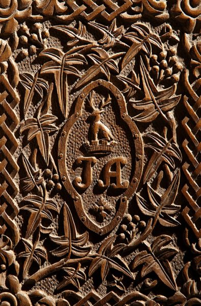 Close up of Jane Austen's carved wooden letter case