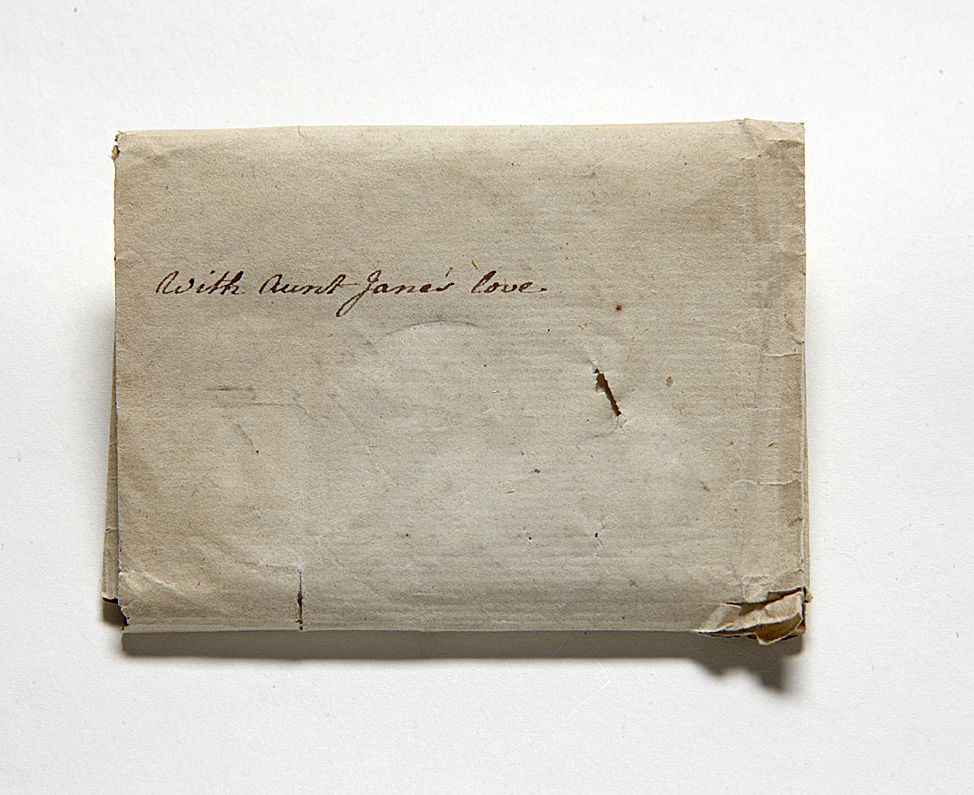 Wrapper, inscribed 'with Aunt Jane's love'