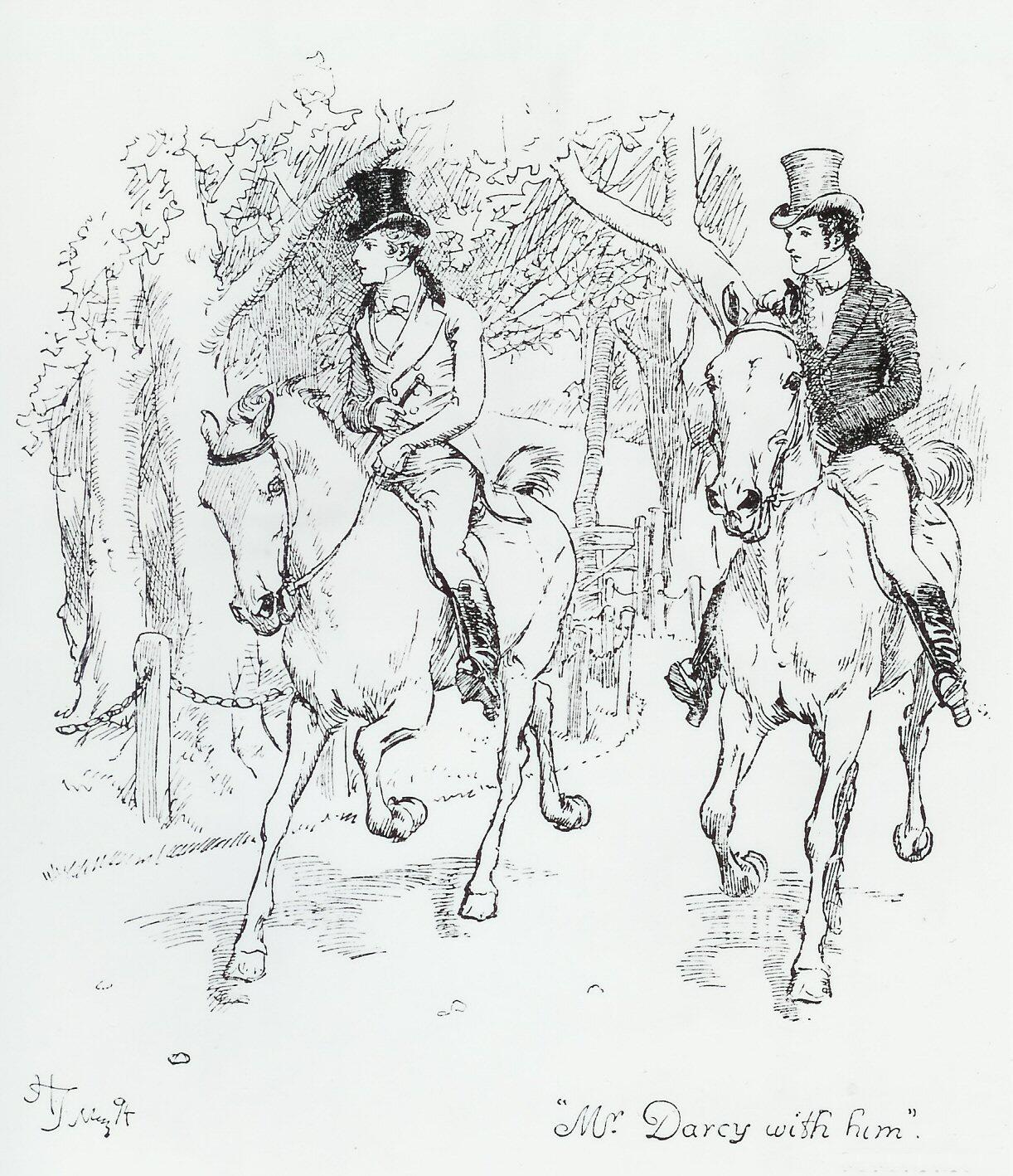 Illustration by Hugh Thomson: Mr Darcy and Mr Bingley