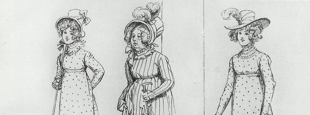 Illustration of Mrs Bennet and her two youngest daughters, by Hugh Thomson