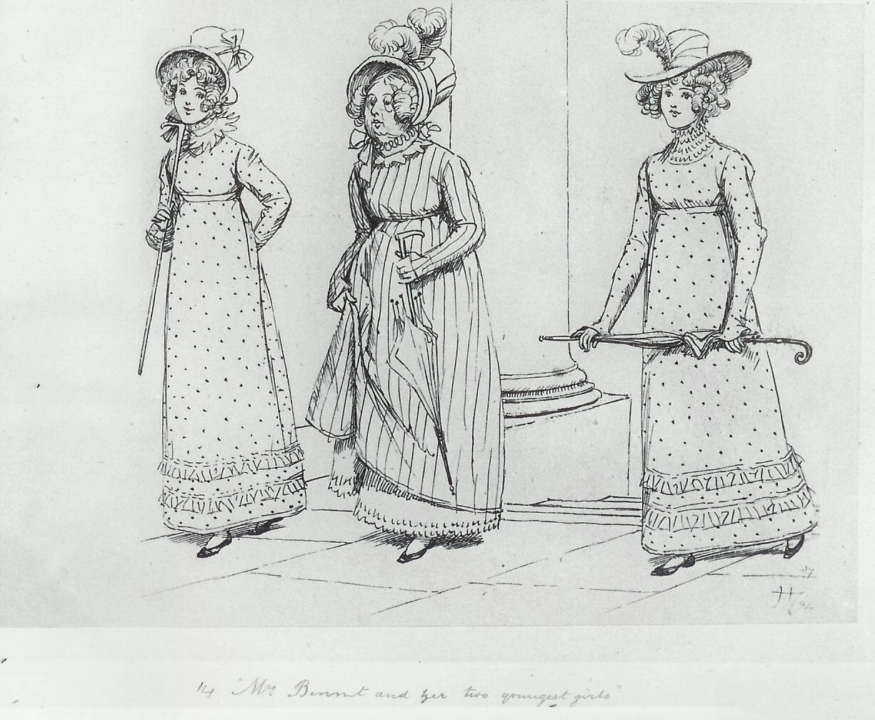 Illustration by HUgh Thomson: Mrs Bennet and her two youngest girls