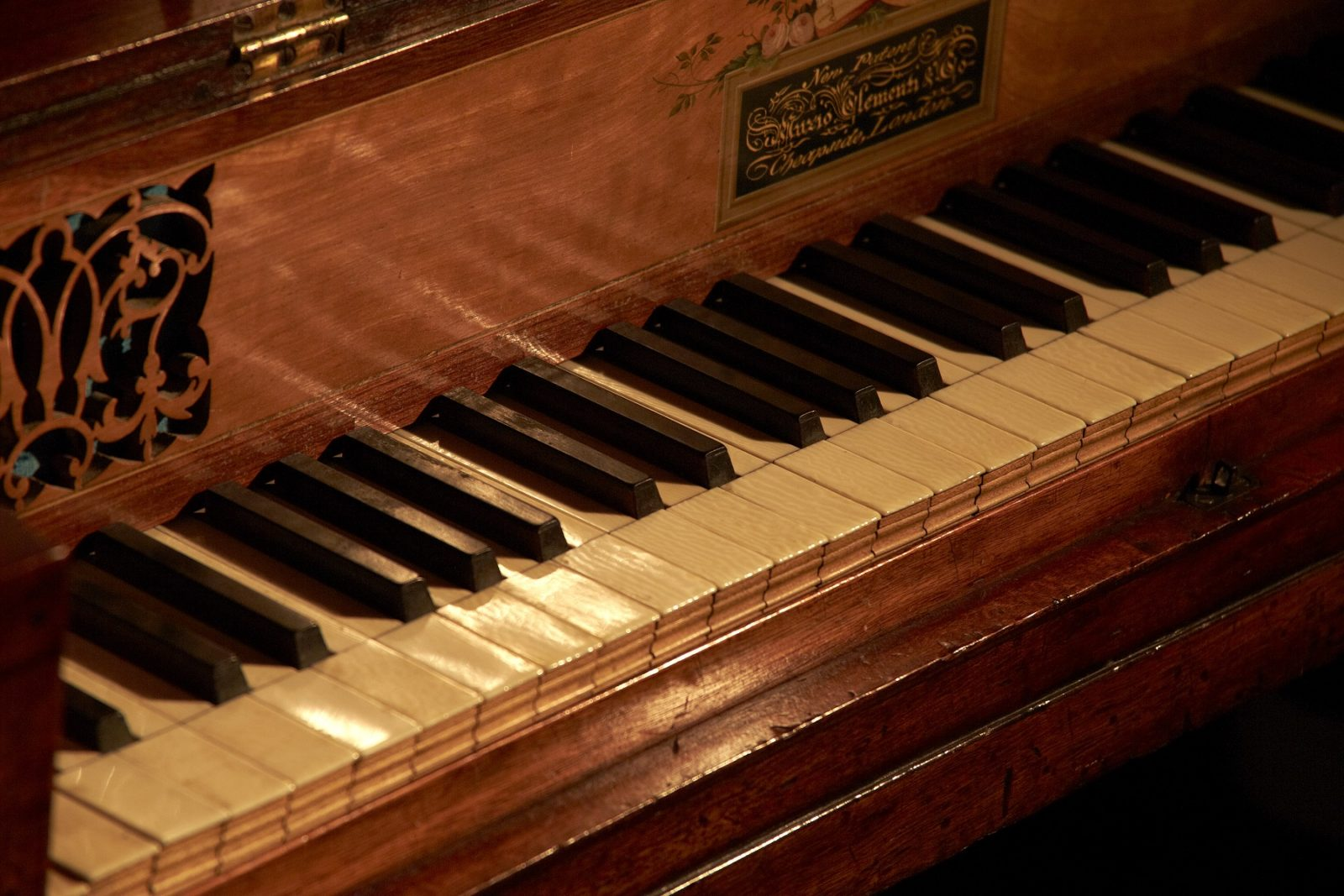 Clementi piano at Jane Austen's House, close up of piano keys