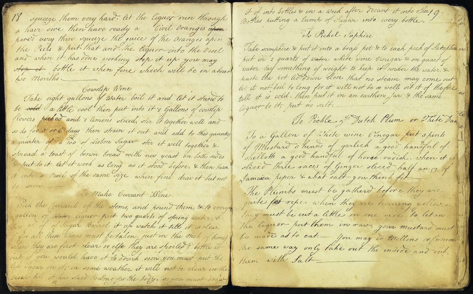 Martha Lloyd's cookbook, cowslip wine