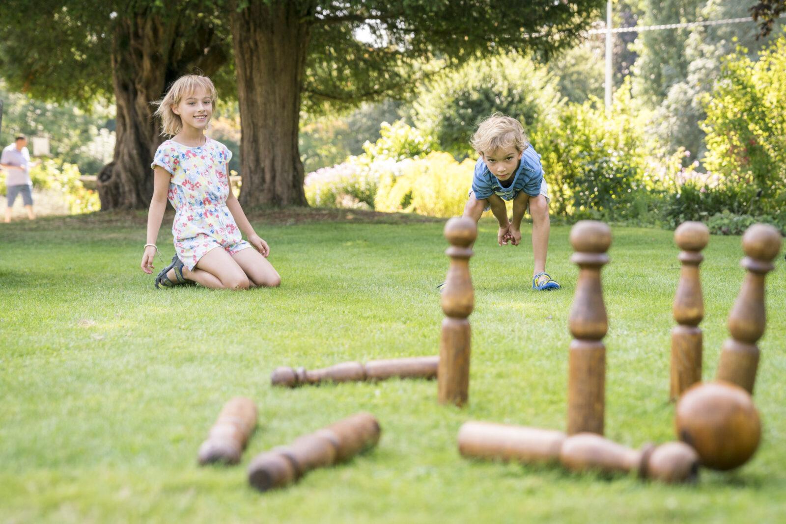 Children playing regency garden games in the garden at Jane Austen's House