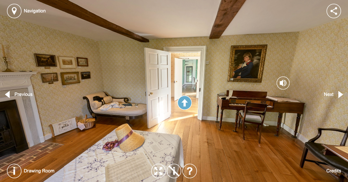 Still from Jane Austen's House Virtual Tour, showing the Drawing Room