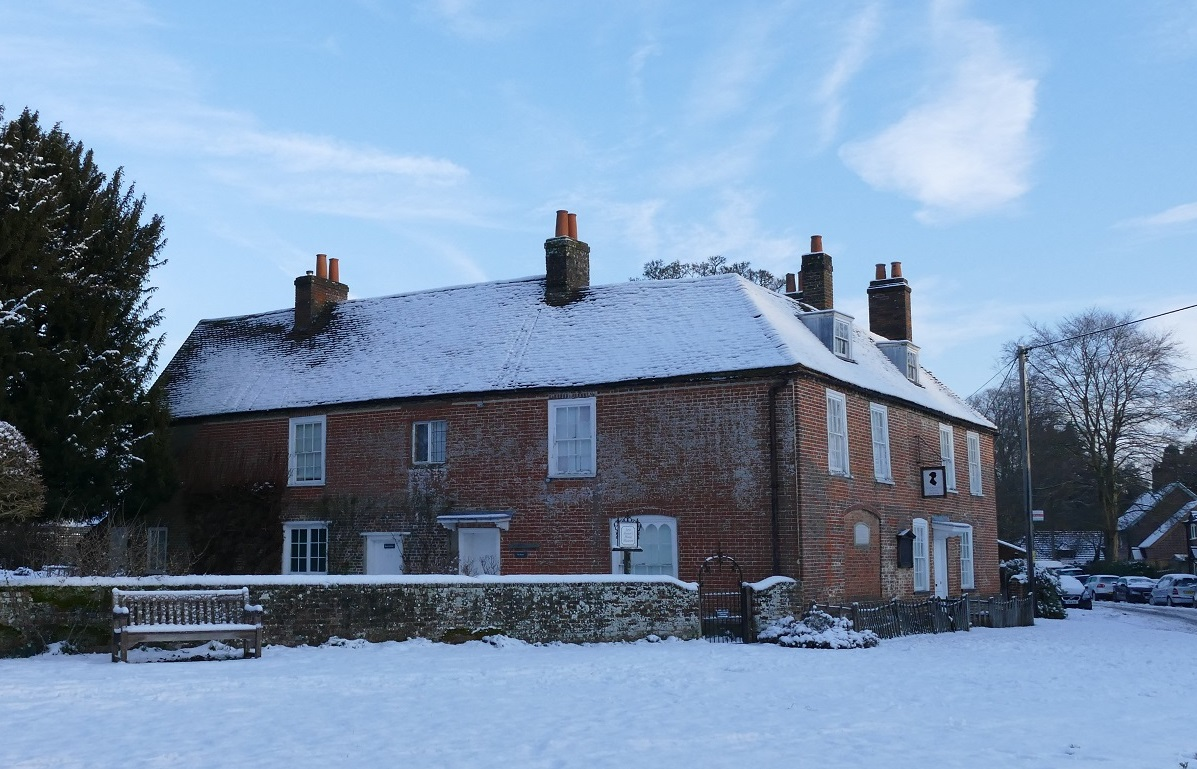 Jane Austen's House in January, covered in snow