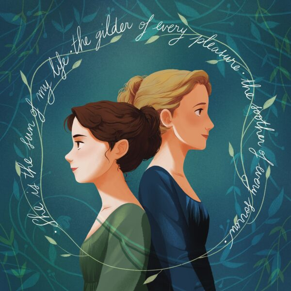 Jane and Cassandra Austen stand back to back