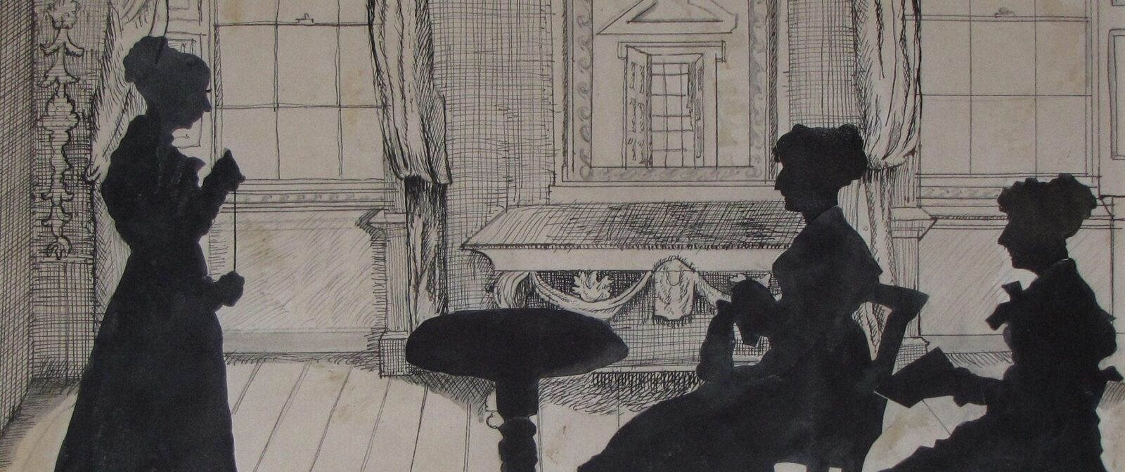Silhouette of three Knight sisters in the Drawing Room at Godmersham Park