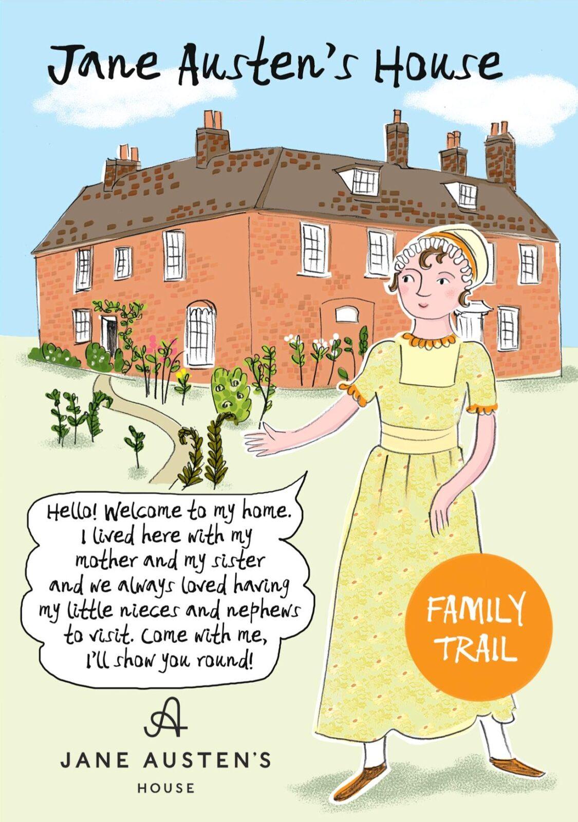 An illustration of Jane Austen in front of Jane Austen's House