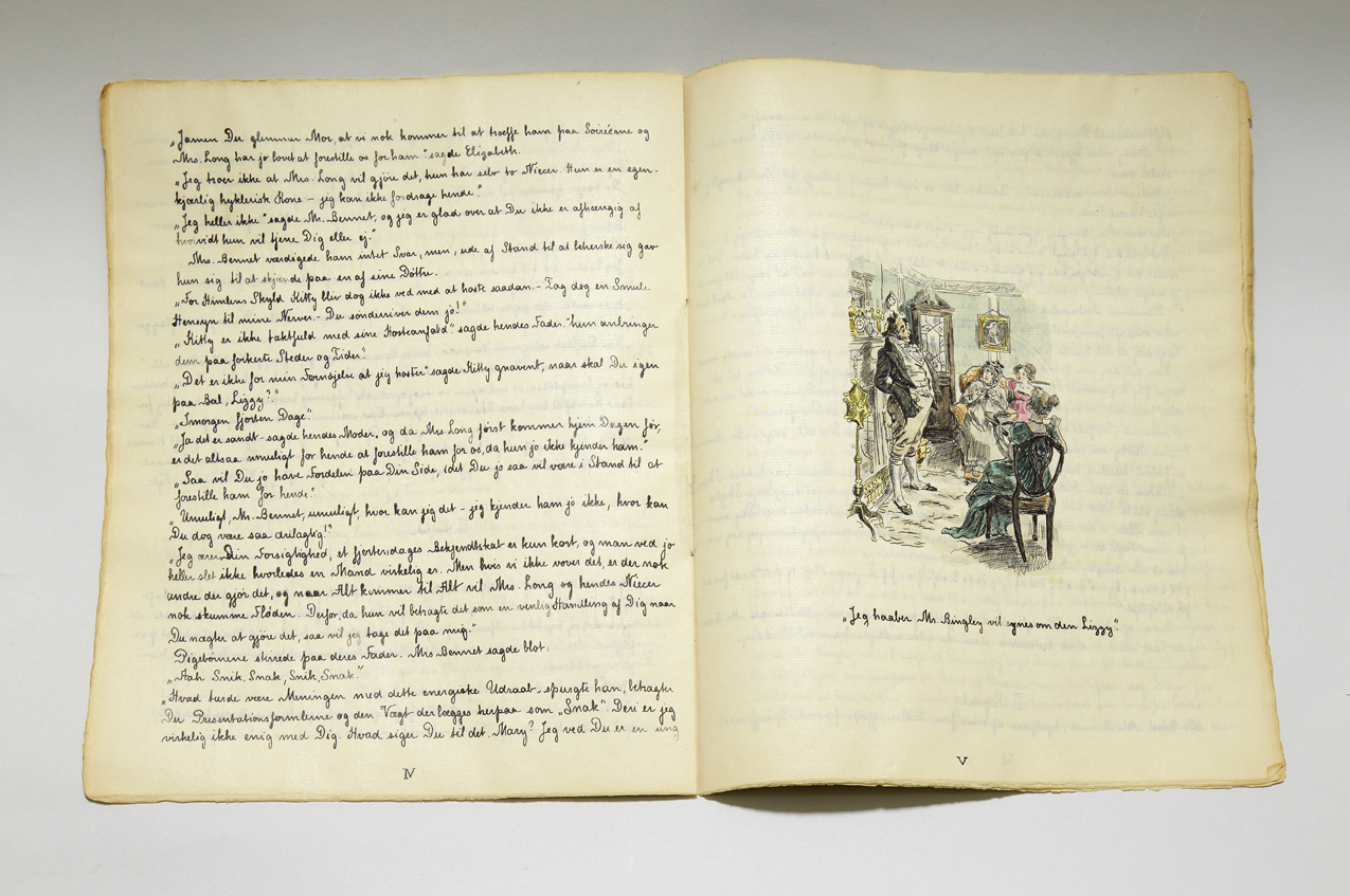 Handwritten Danish translation of Pride & Prejudice, open at an illustration