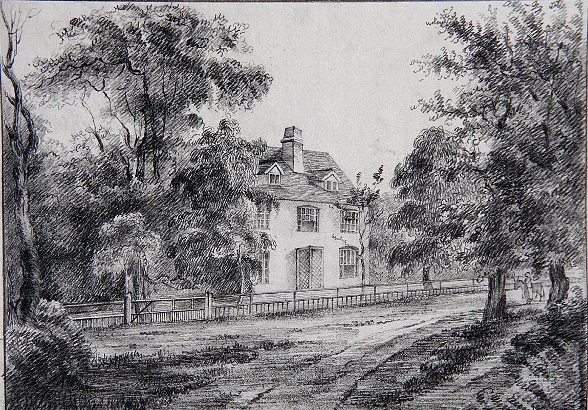 Pencil drawing of Steventon Rectory, Hamphire