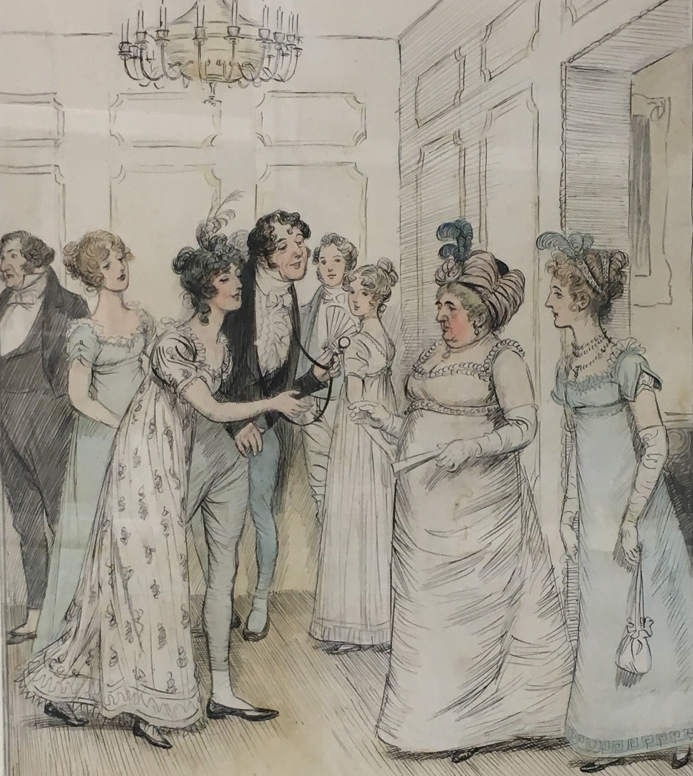Illustration of a fashionable party in Bath, by Hugh Thomson