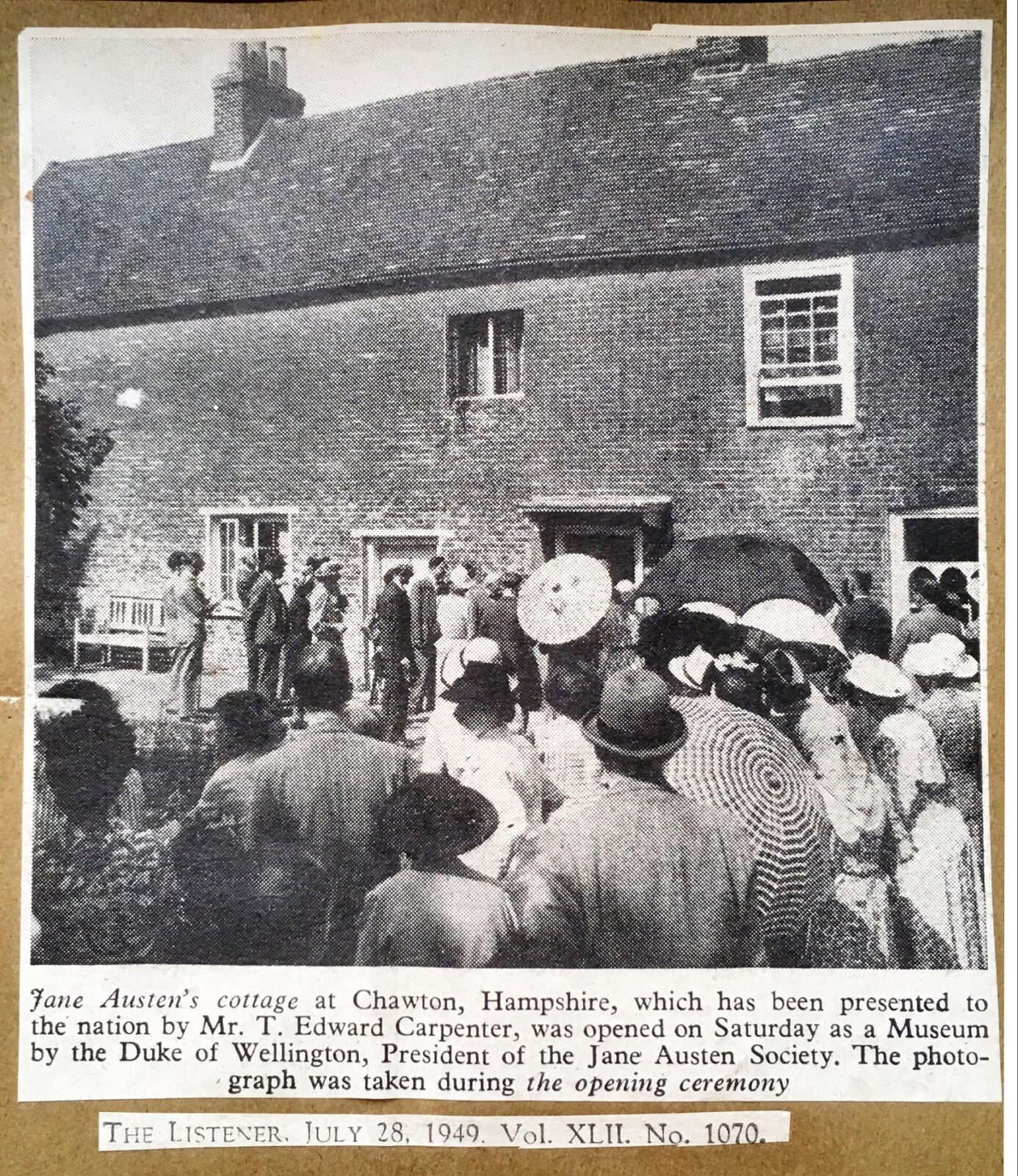 A press cutting from the opening of Jane Austen's House