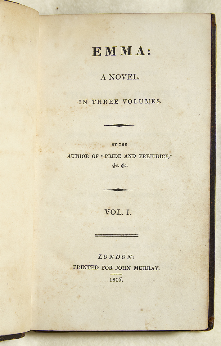 First edition of Emma by Jane Austen; title page