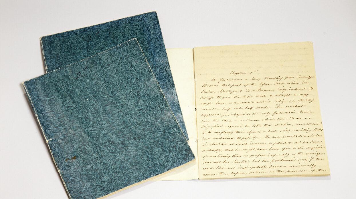Cassandra Austens fair copy of Sanditon in three green notebooks