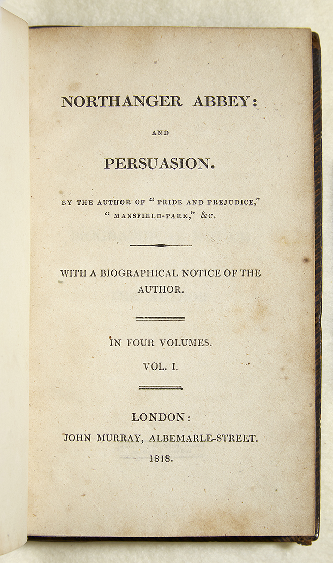 Title page to First edition of Northanger Abbey and Persuasion, by Jane Austen
