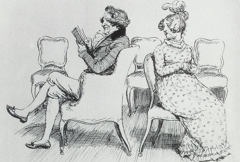 Illustration of Mr and Mrs Bennet, by Hugh Thomson (Pride & Prejudice, published by George Allen, 1894)